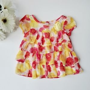 GEORGE Baby Flowy Top Floral Pink Size 3-6M